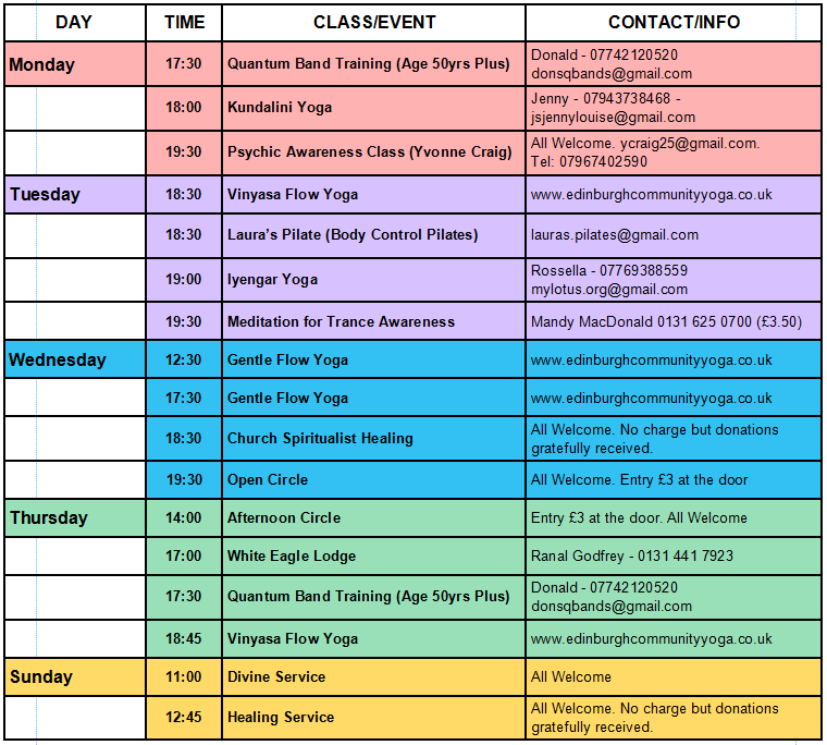 Weekly Whats On Classes