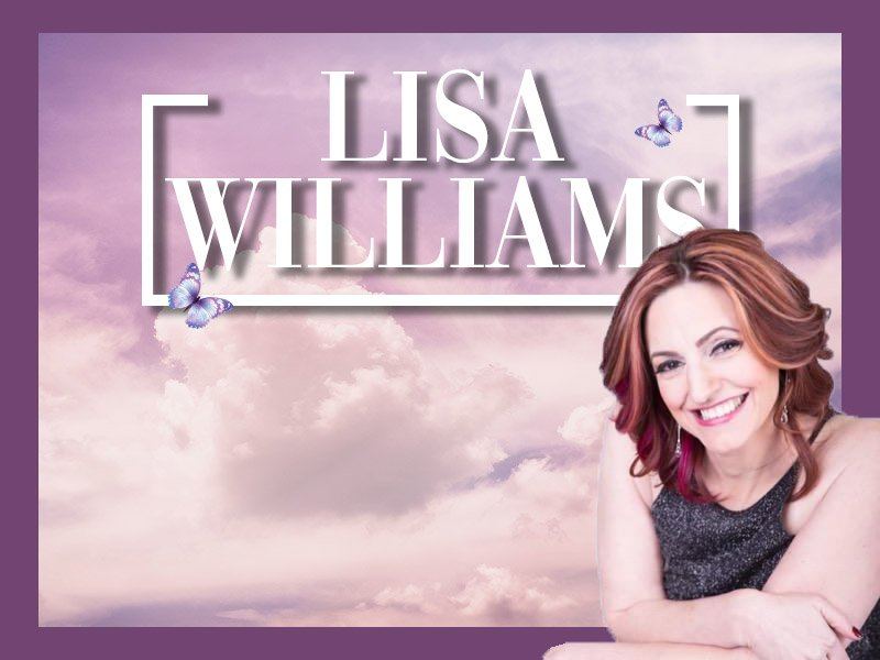 Lisa Williams on purple background